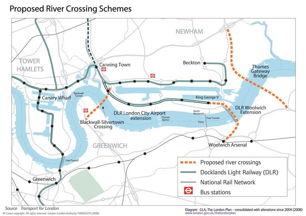Transport for London River Crossings London Chamber – East London Uk Map